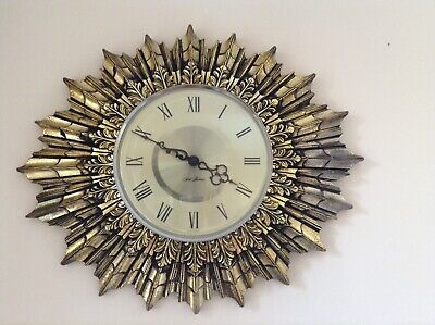 Rare Vintage Seth Thomas Radiating Starburst / Sunburst Wall Clock Collectable