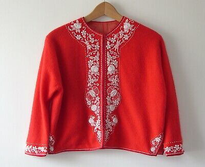 Vintage 1950s 60s Red & White Beaded Cropped Cardigan Size 10
