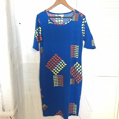Lularoe Julia Dress Solid Blue With Geo Shapes Red Yellow Light Blue Size XL