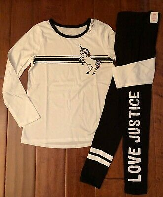 Nwt Justice Girls 10 Outfit  ~ White & Black Unicorn Tee / Leggings