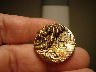 Antique brass tinted 2 PEOPLE in BOAT, WATER, BUILDING and TREE scene button