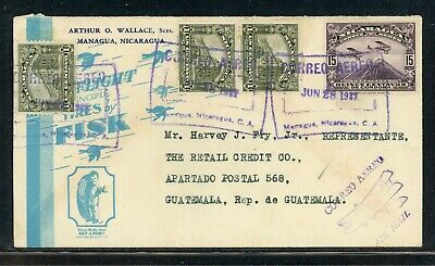 Nicaragua Postal History: LOT #140 1932 Air Commercial TIRES to GUATEMALA $$$