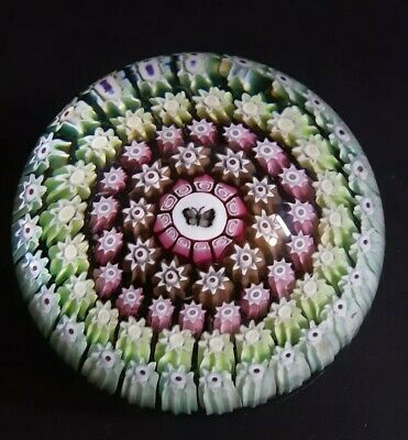 Beautiful Vintage Perthshire Millefiore Butterfly P Centre Paperweight 55 Mm
