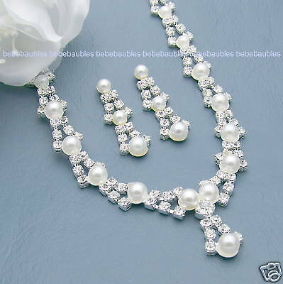 FOUR PEARL Necklace Sets BRIDAL Wedding Bridesmaid Jewelry CRYSTAL SILVER Sp