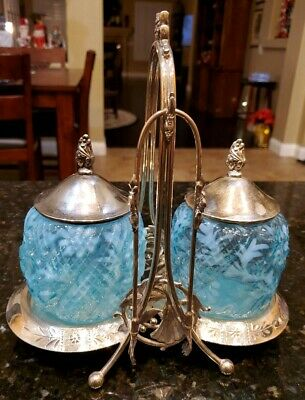 Victorian Antique Double Pickle Castor Northwood Blue Daisy Fern Jars Meriden