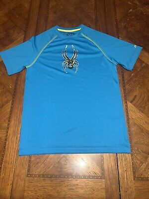 NEW Spyder blue/lime short sleeve layer/top/shirt youth L blue crew neck dri-fit