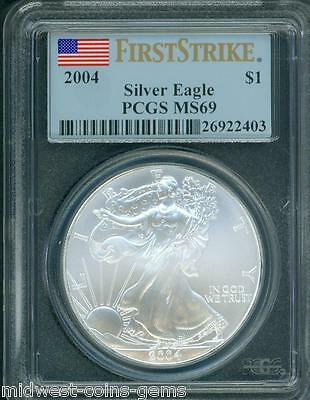 2004  American Silver Eagle ASE S$1 PCGS MS69 FIRST STRIKE FS