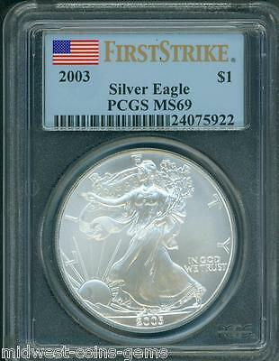 2003 American Silver Eagle ASE S$1 PCGS MS69 FIRST STRIKE FS