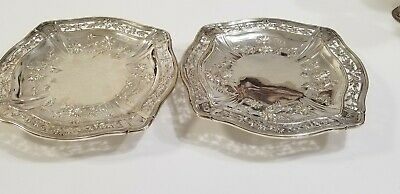 Matching Pair Of French Sterling Silver Trays / Tazzas
