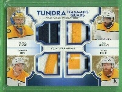 Pekka Rinne 2019-20 Artifacts Tundra Teammates Quad Patch 1/10 Josi Ellis Subban