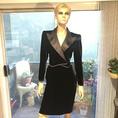 Vintage Valentino Boutique Black Velvet Satin Trim Tuxedo Dress - Sz 12
