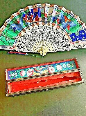 19Th Century China Chinese Canton Hundred Faces Paper Fan With Original Box 古董扇