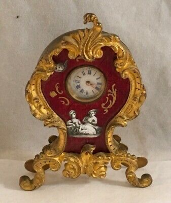 Antique Fine Miniature French Rococo Enamel Painted Guilloche Decorated Clock