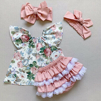 AU Kids Baby Girl Clothes Floral Tops+Ruffle Shorts Headband 3PCS Outfit Sunsuit