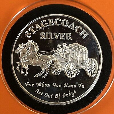 Stagecoach Divisible 1 Troy Oz .999 Fine Ag Silver Collectible Round Coin Medal