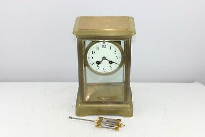 Antique Couaillet Freres French Crystal Brass Regulator Mantel Shelf Clock