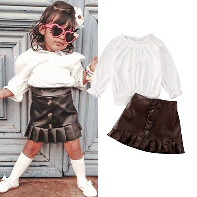 US Toddler Kids Baby Girl Knitted Top PU Leather Mini Skirt Outfits Clothes