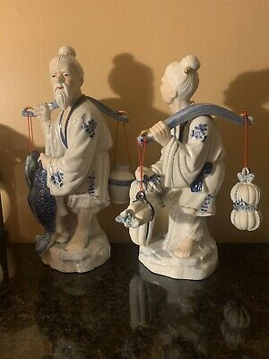 "Large Chinese Fisherman Couple Blue White Porcelain Figurine Statues "" ROC"""