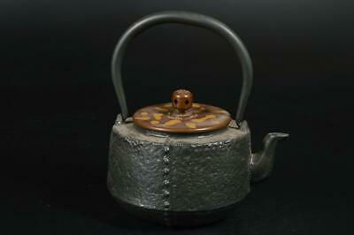 A3124: Japanese XF Old Iron Shapely TEA KETTLE Teapot Tetsubin w/copper lid