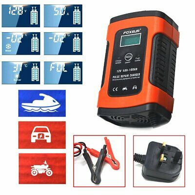 12V Smart Battery Pulse Charger Automobile Motorcycle LCD Display Charger GEL UK