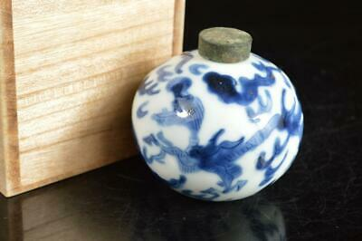 A4108: Japanese Old Imari-ware Blue&White TEA CADDY Chaire Container w/box