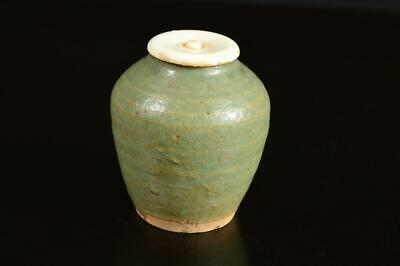 A4107: Japanese Seto-ware Green glaze TEA CADDY Chaire Container High class lid