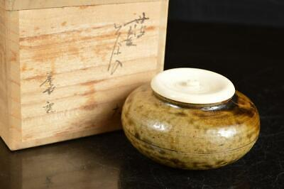 A4106: Japanese XF Tamba-ware TEA CADDY Taikai chaire Container High class lid
