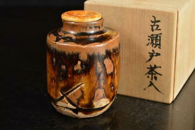 A4103: Japanese Old Seto-ware TEA CADDY Chaire Container High class lid