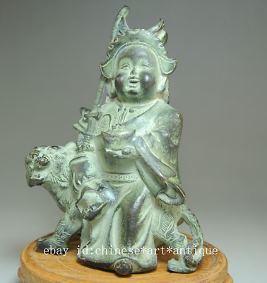 china old hand-made bronze tiger and the god of wealth antique statue Bc01B