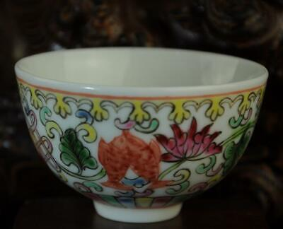 chinese Handwork old famille-rose porcelain hand painted goldfish bowl /Aa02B