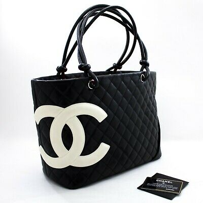 u87 CHANEL Authentic Cambon Tote Large Shoulder Bag Black White Quilted Calfskin