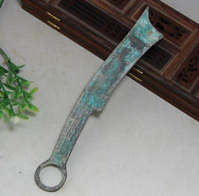 Chinese Bronze six words Knife shape Coin Old Dynasty Antique Currency Cash b01