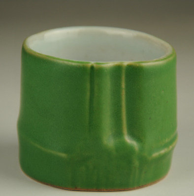 china old hand-made Green glaze porcelain bamboo statue cup Ab02B