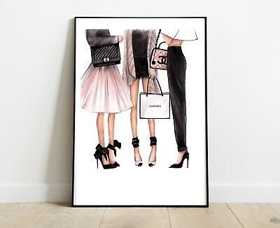 Chanel Print Ladies For Home Decor Dressing Room A4 Pink Art