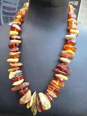 Art Deco Very Large Natural Mixed  Opaque/Clear Russian  Amber  Necklace  琥珀色