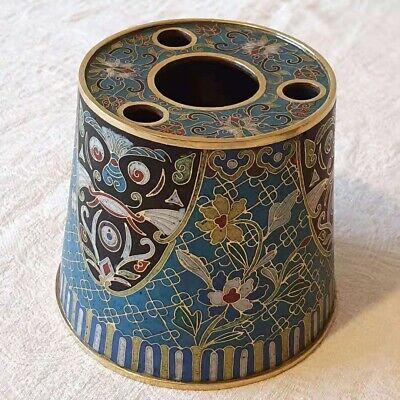 A vintage Chinese cloisonné and gold-gilding container