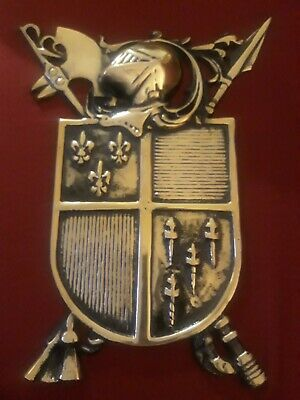 "Vintage Medieval Knights Coat Of Arms Plaque Cast Brass Alum Shield 16x12"" Japan"