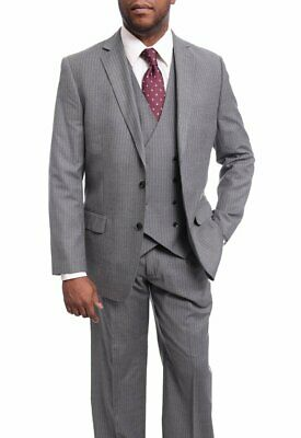 Mens 42R Arthur Black Classic Fit Gray Pinstriped Two Button Three Piece Wool...