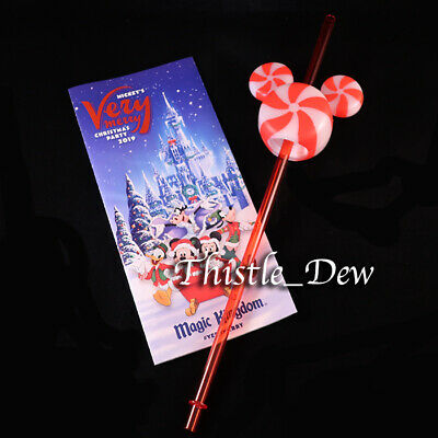 Disney Parks PEPPERMINT Mickey STRAW Icon Topper CHRISTMAS Very Merry Party MAP