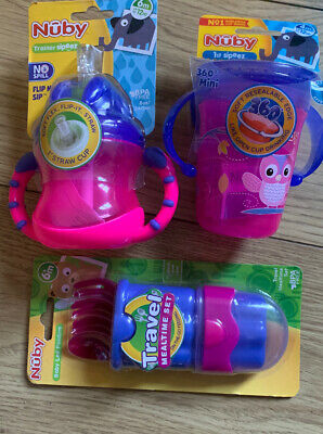 Nuby Girls Weaning Set No Spill, 360, Travel Cutlery NEW