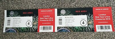 2 x London New Year's Eve Fireworks 2019 Tickets Red Area Great Views.