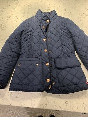 Girls Joules Quilted Navy Blue Coat Jacket Sz 7 Yrs