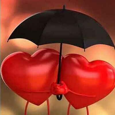 5D DIY Diamond Painting Embroidery Cross Stitch Red Two Heart Umbrella Craft 8C