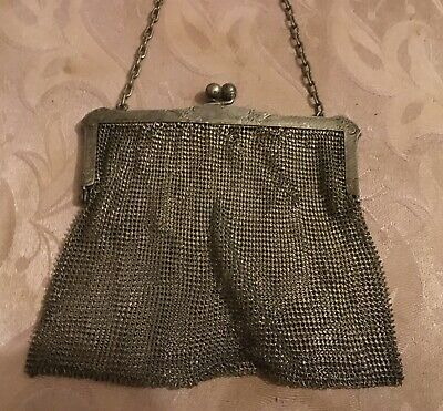 Antique 19th Century Silver Mesh Chain Mail Women's Purse Stamped Signed