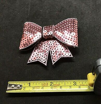 Sequin Pink Bow 8cm Hair Clip Only Christmas Party Outfit Accessory