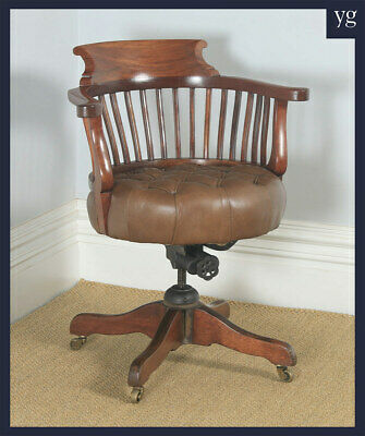 Antique English Victorian Mahogany & Tan Brown Leather Revolving Desk Arm Chair