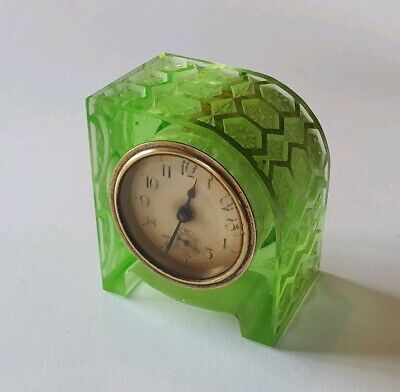Stunning very rare vintage green cut glass Art Deco desk clock machine age 3.2""