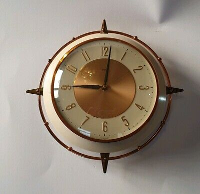 Stunning vintage Metamec/Kienzle electric wall clock 50's star design copper vgc