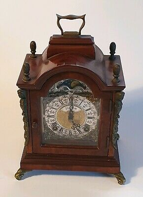 Stunning vintage wooden/brass Prescott arched mantle clock lunar moonphase chime