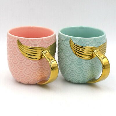 1 Pc Mermaid Mug Pearl Glaze Gold Creative Ceramic Cup Coffee Mug Birthday Gift